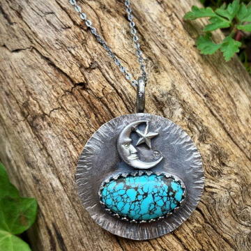 Blue Moon Turquoise with Crescent Moon and Stars