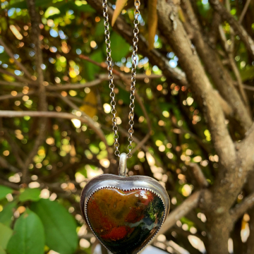 Red Plume Agate Heart Necklace