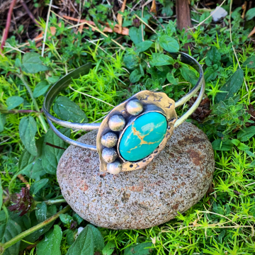 Turquoise Mountain and Sterling Silver Cuff