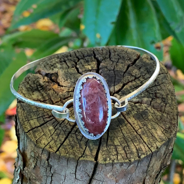 Cherry Tanzurine Quartz and Sterling Silver Tension Bracelet