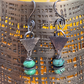 Hubei Turquoise and Sterling Silver Earrings