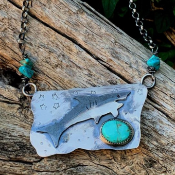 Shark Necklace with Turquoise